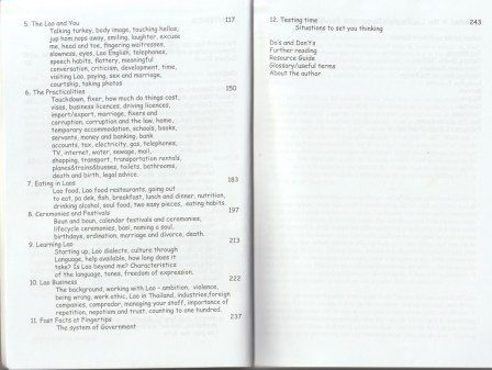 """Table of contents - excerpt from """"The Lao, Laos... and You"""", © 2008 Robert Cooper"""