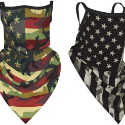 2Pcs Flag Sports Face Bandana Neck Gaiter with Ear Loops Reusable Triangle Mask Scarf for Women Men