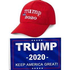Donald Trump 2020 Hat and Keep America Great 3 x 5 Feet Flag with Grommets and for Supporting President Election