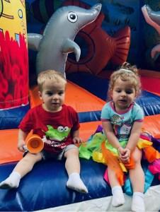 Cute Twins on Marino bounce house