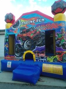 racing fun bounce house front