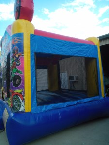 racing fun bounce house side