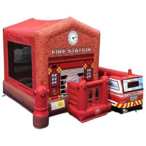 205Party Fire Station Bounce House combo Front angle