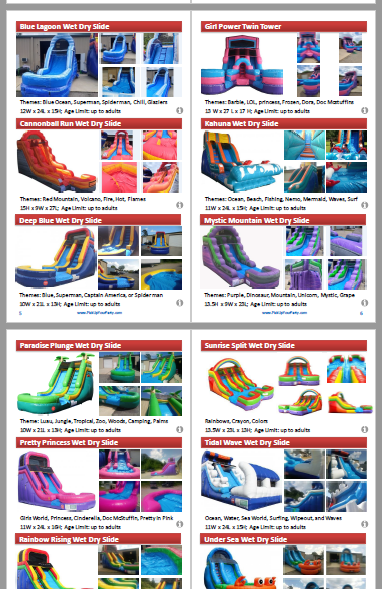 catalog of bounce houses