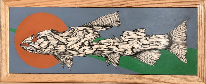 """Carcass   2019   22"""" x 8""""   Pen acrylic on wood."""