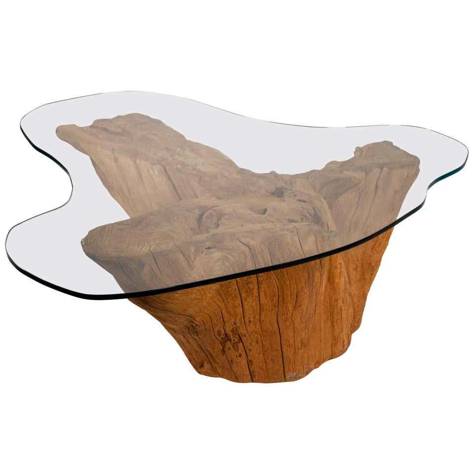 modern cypress tree trunk coffee table 1970s sandblasted organic freeform design
