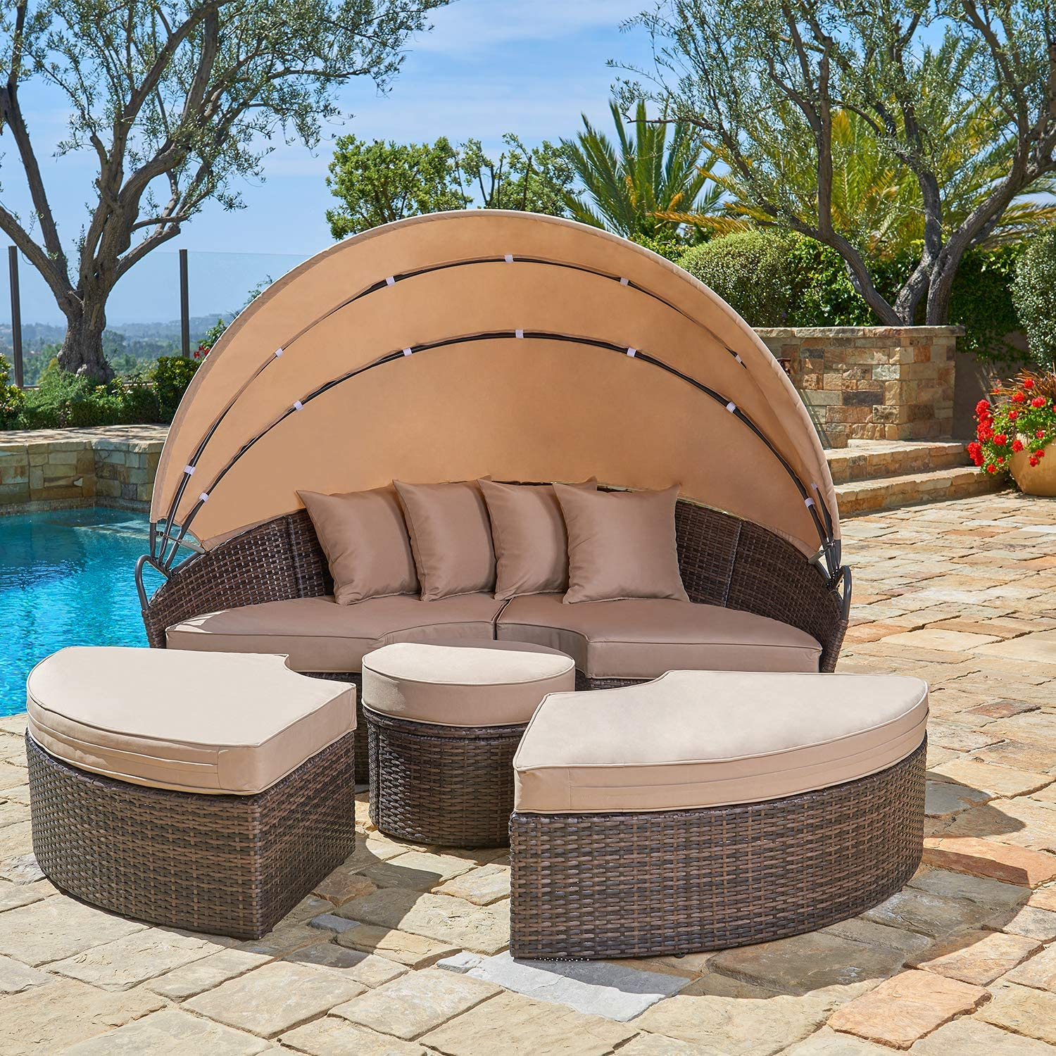 suncrown outdoor wicker round patio daybed