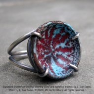 """Signature Enamel series,"" ring, sterling silver and sgraffito enamel, by L. Sue Szabo. Photo by L. Sue Szabo."