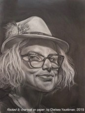 "Founders Best of Show Award: ""Rocked It"" charcoal drawing by Chelsea Younkman"
