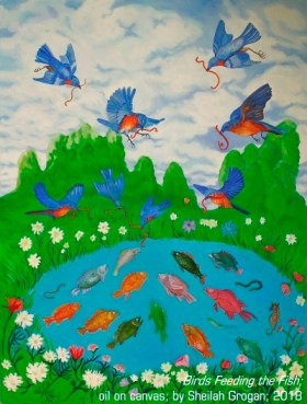 """Birds Feeding the Fish"" oil on canvas by Sheilah Grogan"