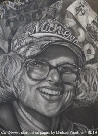 """The Winner"" charcoal on paper by Chelsea Younkman"