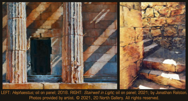 """""""Hephaestus"""" and """"Stairwell in Light"""" oil on panel by Jonathan Ralston"""