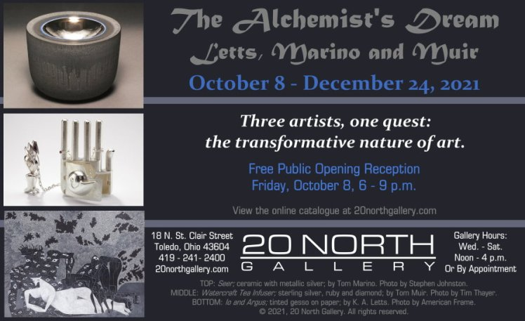 """""""The Alchemist's Dream: Letts, Marino and Muir"""" exhibition postcard"""