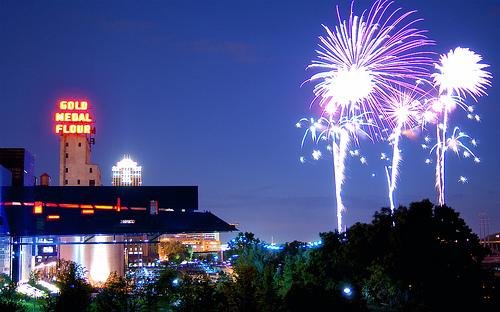 Aquatennial Fireworks over Mississippi river
