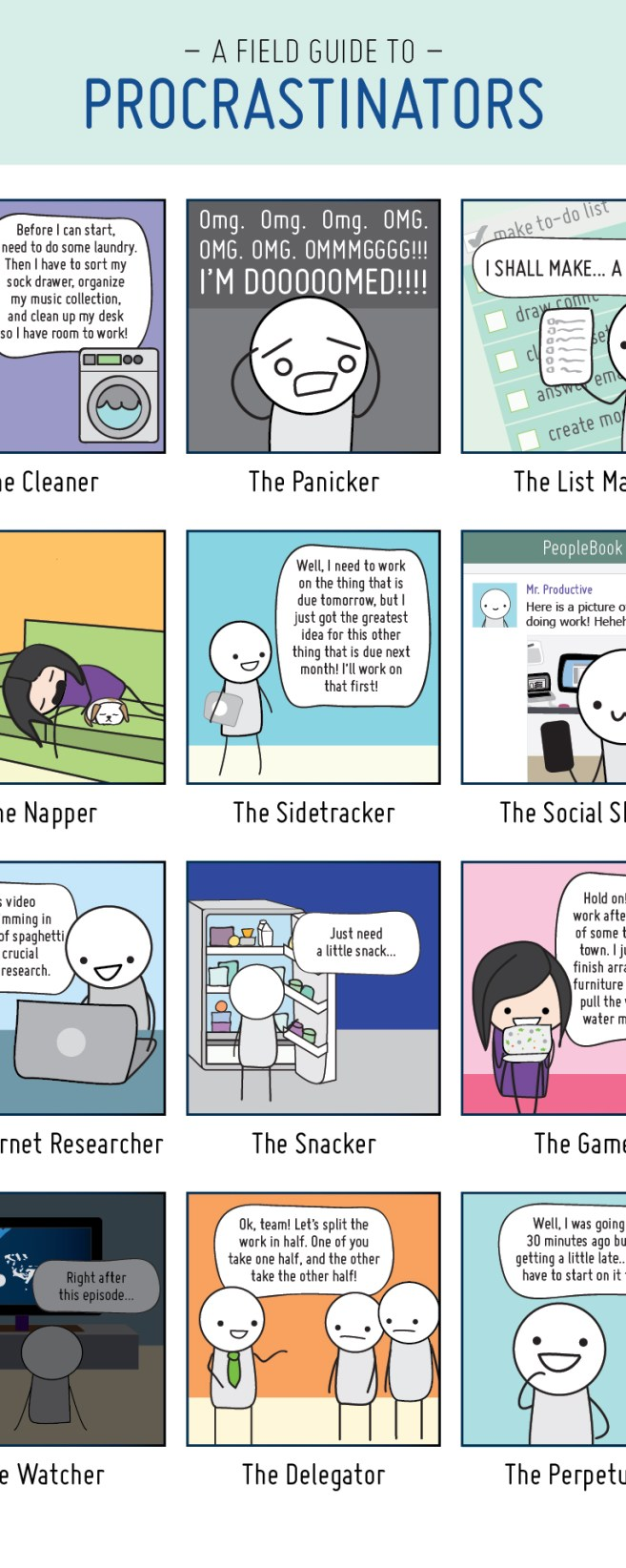A Field Guide to Procrastinators - 12 Types of Procrastinators - Find the procrastinator in you