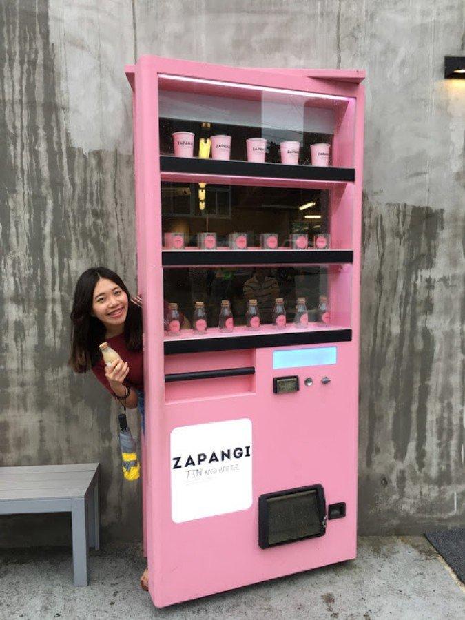 首爾IG景點 :粉紅色販賣機咖啡廳 ZAPANGI