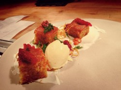 Carrot cake with mascarpone, citrus & creme fraiche.