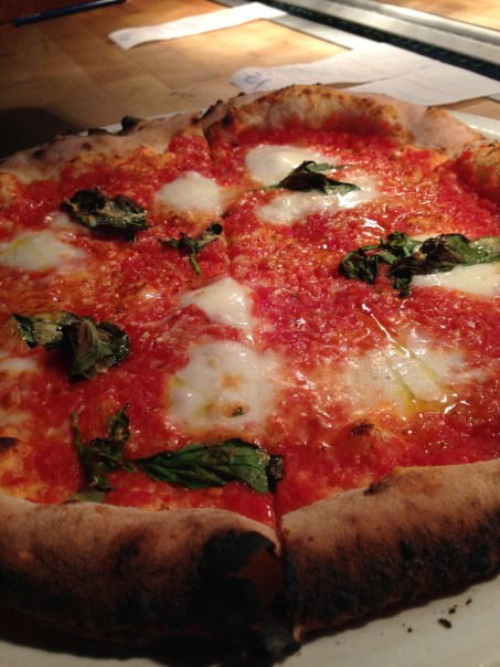 Margherita pizza with san marzano, basil, fior di latte & extra virgin olive oil.