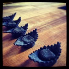 Squid ink tortelletti.