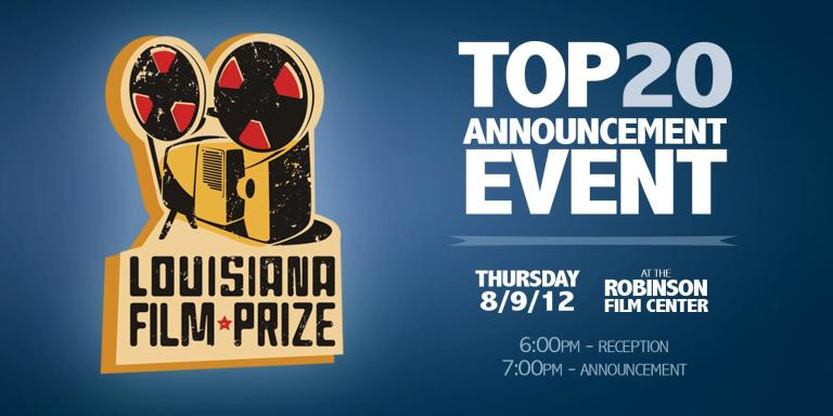 A banner for the Louisiana Film Prize Top 20 Announcement