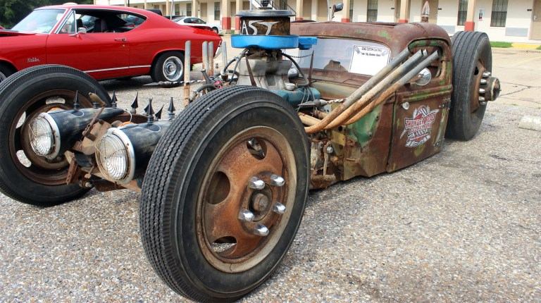 An unusual custom car is exhibited at the Twin City Bomber Bash