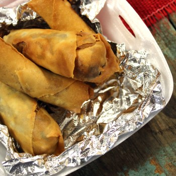 A photo of sweet potato and boudin-stuffed spring rolls