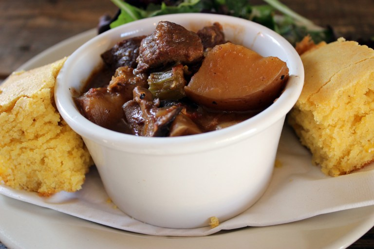 A photo of the marsala beef stew at Rhino Coffee in Shreveport