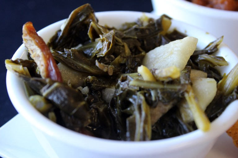 A photo of a bowl of collard greens