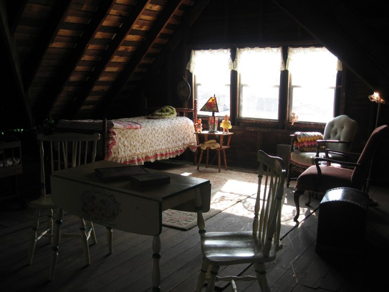 A photo of the attic of Logan mansion