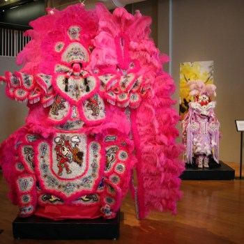 A photo of a Mardi Gras Indian suit created by Big Chief Howard Miller