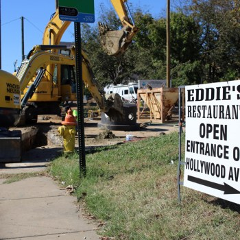 A photo of construction outside of Eddie's Restaurant