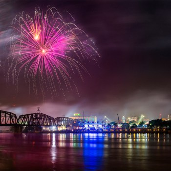 A photo of fireworks over downtown Shreveport