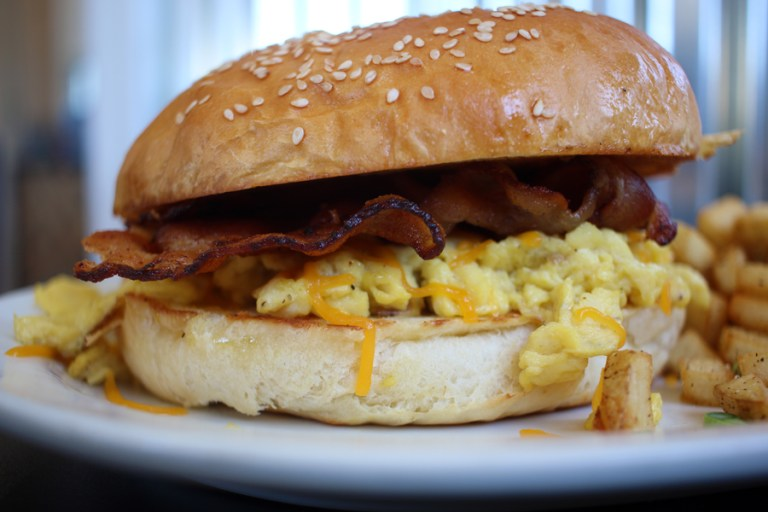 A photo of a breakfast burger from Lowder Baking Company