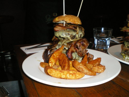 The Fat Bastard Burger  Burger with triple beef, triple bacon, triple cheese and carmelized onions. (Submitted by noeldong)