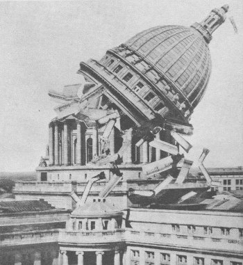 "Readers of the Madison, Wis., Capital-Times had a scare on April 1, 1933 — a front-page photo showed that the state capitol had collapsed. The words ""April Fool"" appeared in small type both in the caption and at the end of the accompanying article, but readers were not amused. ""There is such a thing as carrying a joke too far,"" wrote one, ""and this one was not only tactless and void of humor as well, but also a hideous jest."" source"