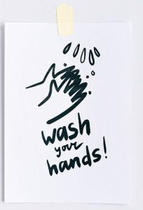 drawing of hands being washed