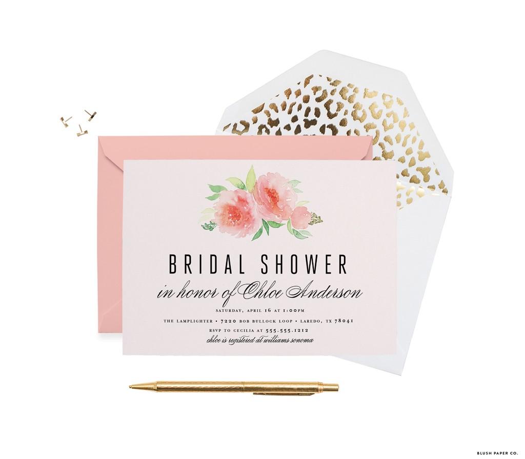 Elegant Florals Modern Bridal Shower Invitation by Blush Paper Co.
