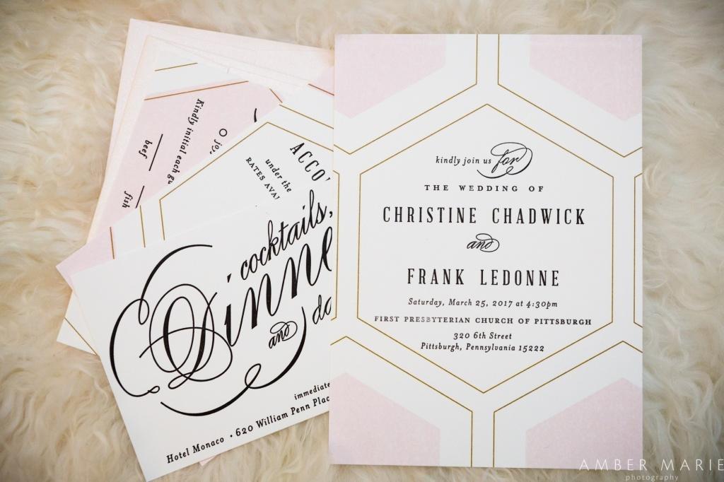 Pink and Black Letterpress Wedding Invitations | Blush Paper Co.