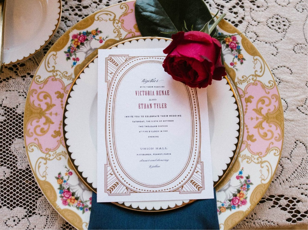 Art Deco Wedding Gold Marsala | Blush Paper Co.