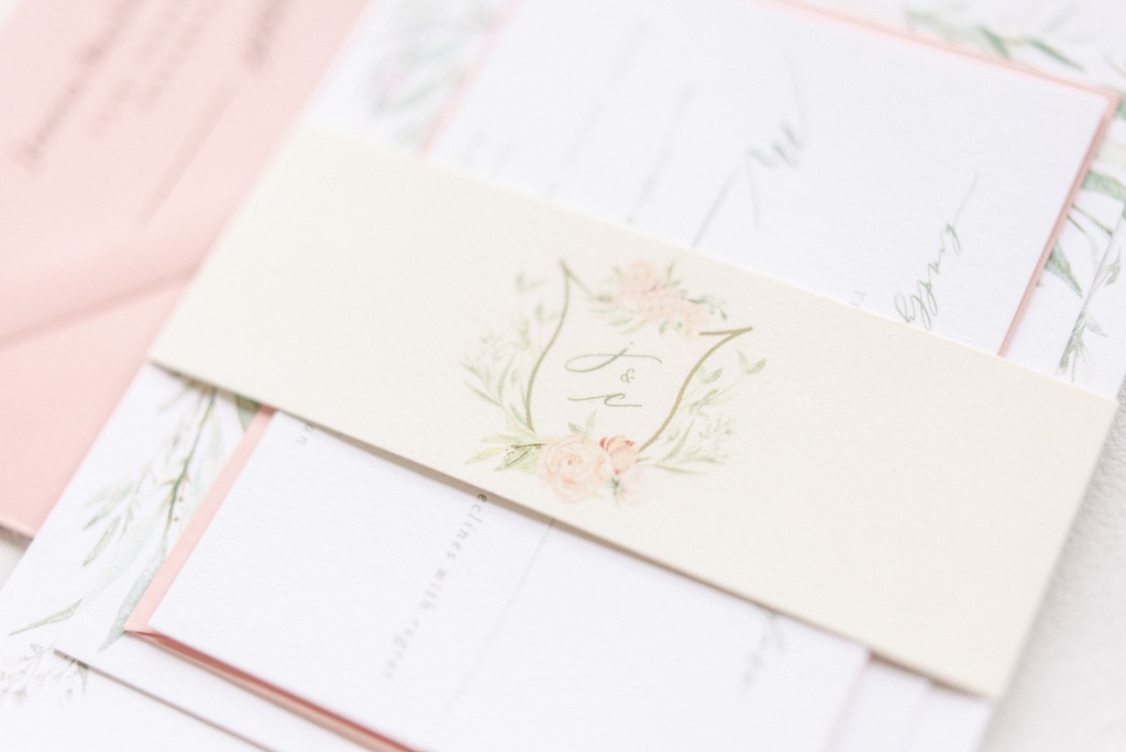 Peach, Sage and Gold Floral Watercolor Wedding Invitations | Blush Paper Co.