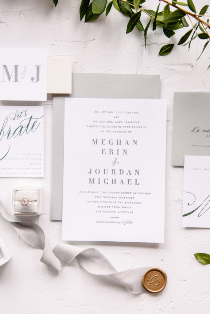 Grey Letterpress Wedding Invitation | Blush Paper Co.