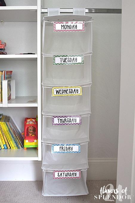 DIY Kids Daily Clothes Organizer + Free Printable - 21 ...