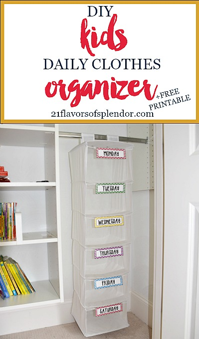 image regarding Free Printable Organizer known as Do-it-yourself Young children Everyday Garments Organizer + Free of charge Printable - 21