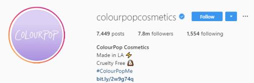 шапка профиля инстаграм Colourpop