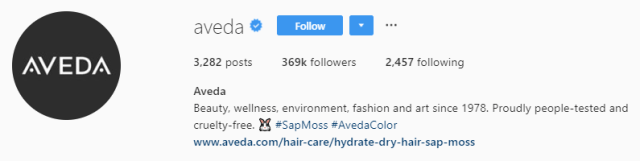 скриншот шапки профиля aveda