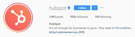 скриншот шапки профиля Hubspot