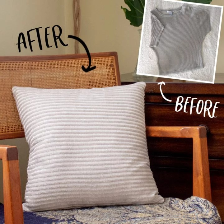old shirt to diy pillow tutorial by