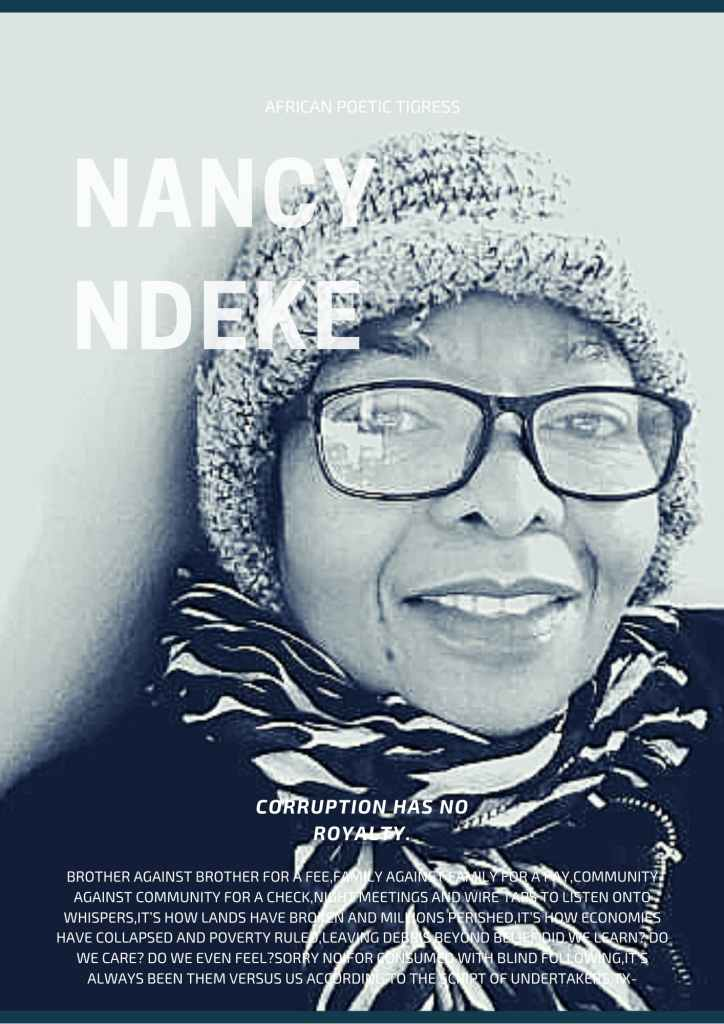 Magazine title cover with Nancy Ndeke and quote from her poem 'corruption has no royalty'