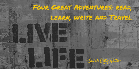 "Even with great economy in words, graffiti art conveys thought provoking messages by utilising, color, imagery and placement to great effect. Here, what the graffiti artist puts as simply 'live life', the poet doesn't achive the same effect with a wordy: ""Four great adventures: read,learn, write and travel"""