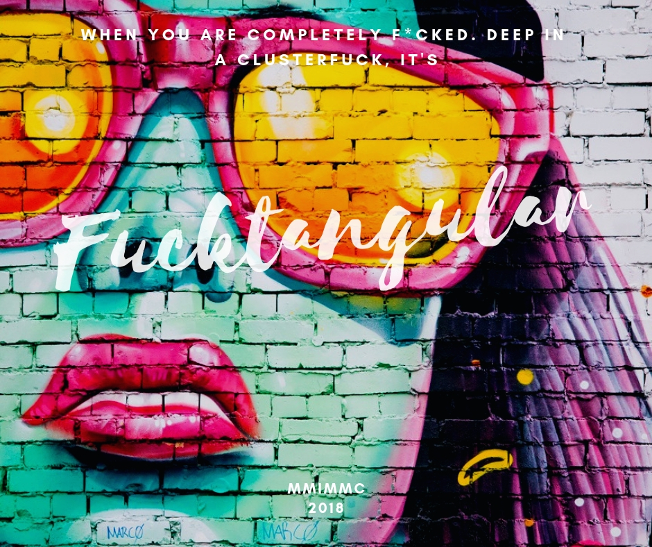 poster featuring graffiti of lady in sunglasses with the quote: when you are completely f*caked. Deep in a clusterfuck, it's fucktangular